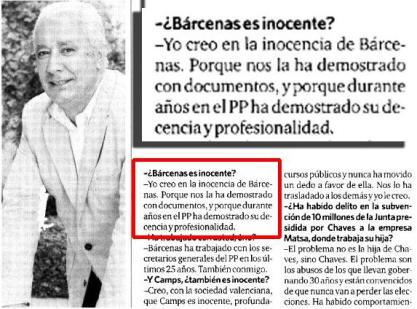 Entrevista Javier Arenas sobre Bárcenas