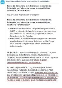 Soraya Sáenz nota informativa del PP