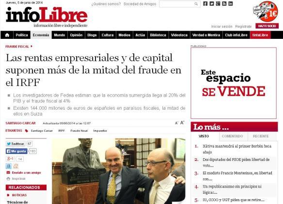 Infolibre-Rentas empresariales y de capital suponen la mitad del fraude en el IRPF