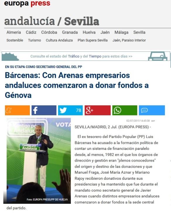 Bárcenas acusa a Arenas