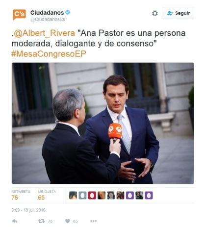 Tuit de apoyo a Ana Pastor